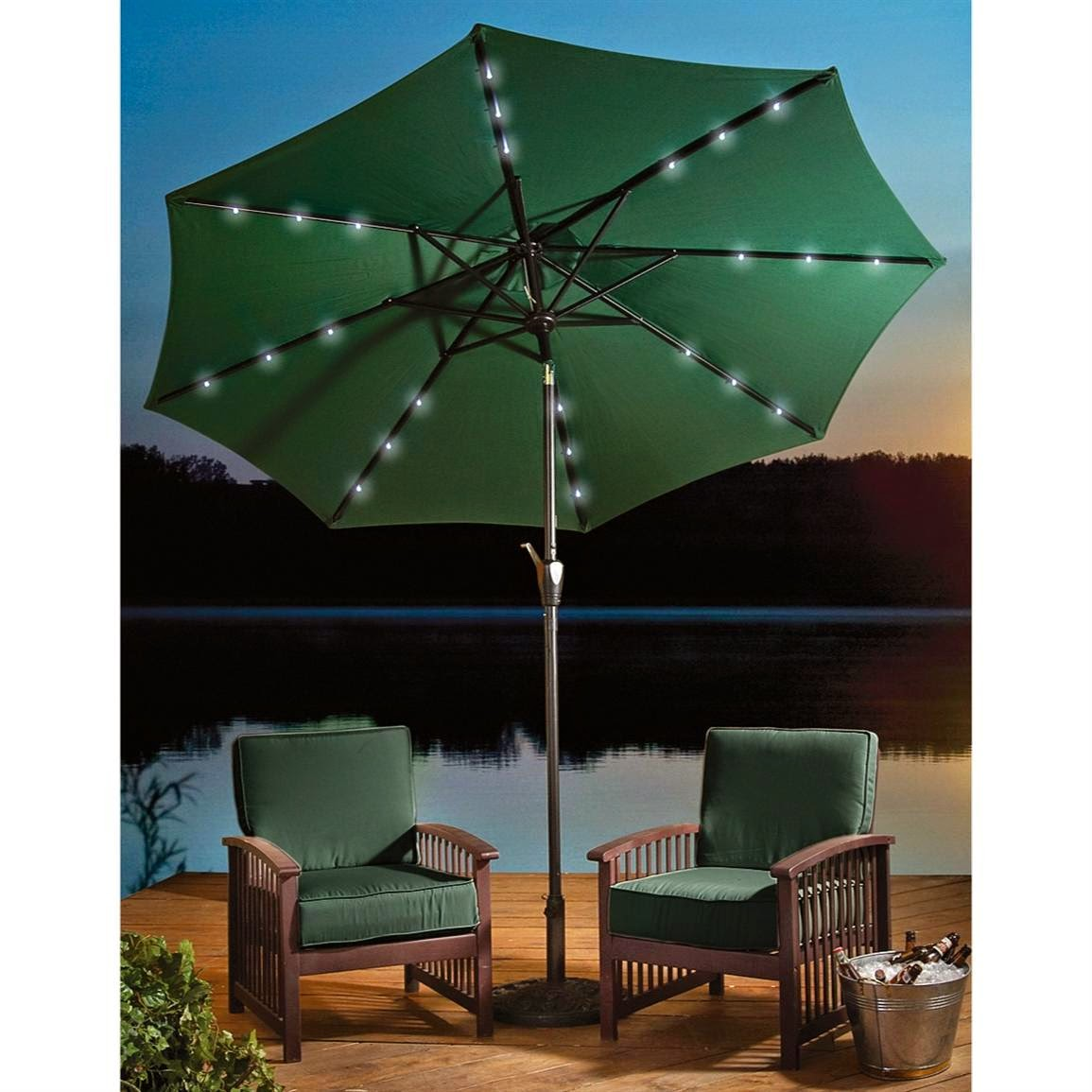 Patio Umbrella Lights Green
