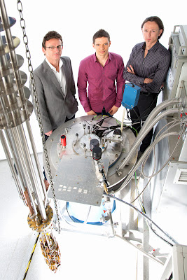 This is, from left: Scientia Professor Andrew Dzurak, Ph.D. Student Jarryd Pla (lead experimental author) and Associate Professor Andrea Morello, University of New South Wales. All three are engineers in the School of Electrical Engineering and Telecommunications at the University of New South Wales in Sydney, Australia. Credit: University of New South Wales