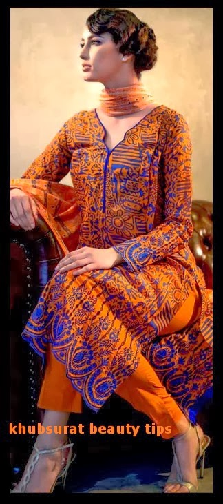 Gul Ahmed lawn in orange color 2014