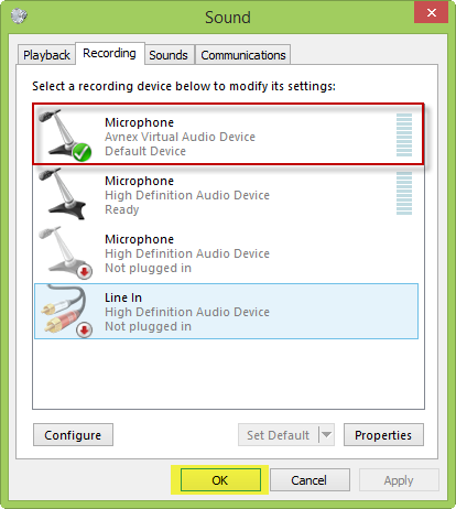 screenshot of setting avnex virtual audio device as default mircrophone driver on Windows 8