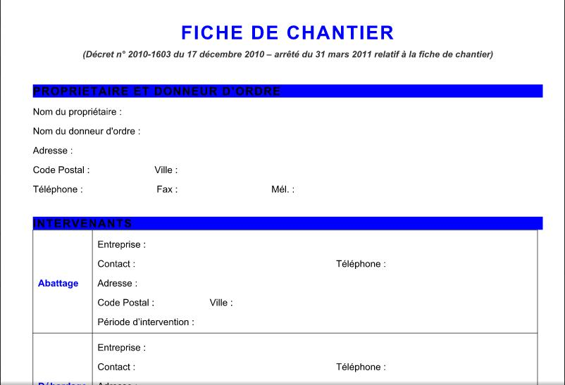 mod le de fiche de chantier en word doc outils livres. Black Bedroom Furniture Sets. Home Design Ideas