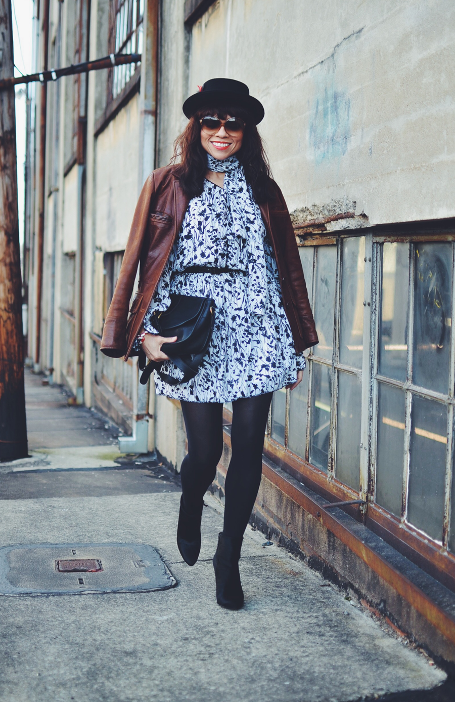 How to wear a floral dress in winter time