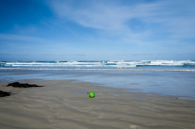 green fishing buoy lying on beach at waters edge