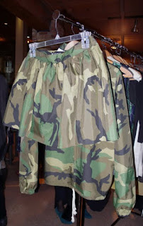 Chicago designer, AggAB's military camo skirt and jacket.