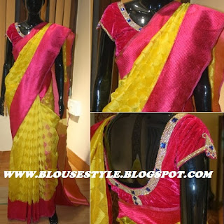BACK NECK STONE WORK DESIGNER BLOUSE