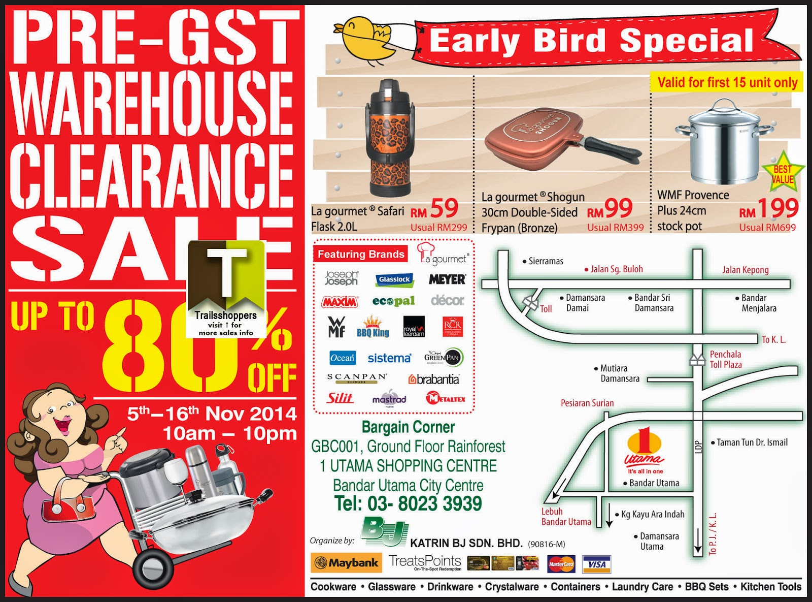 Katrin BJ Malaysia Pre-GST Warehouse Sale discounts up to 80% on cookware & kitchenware