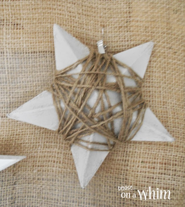 Paper Mache Star Painted and Wrapped in Jute | Denise on a Whim
