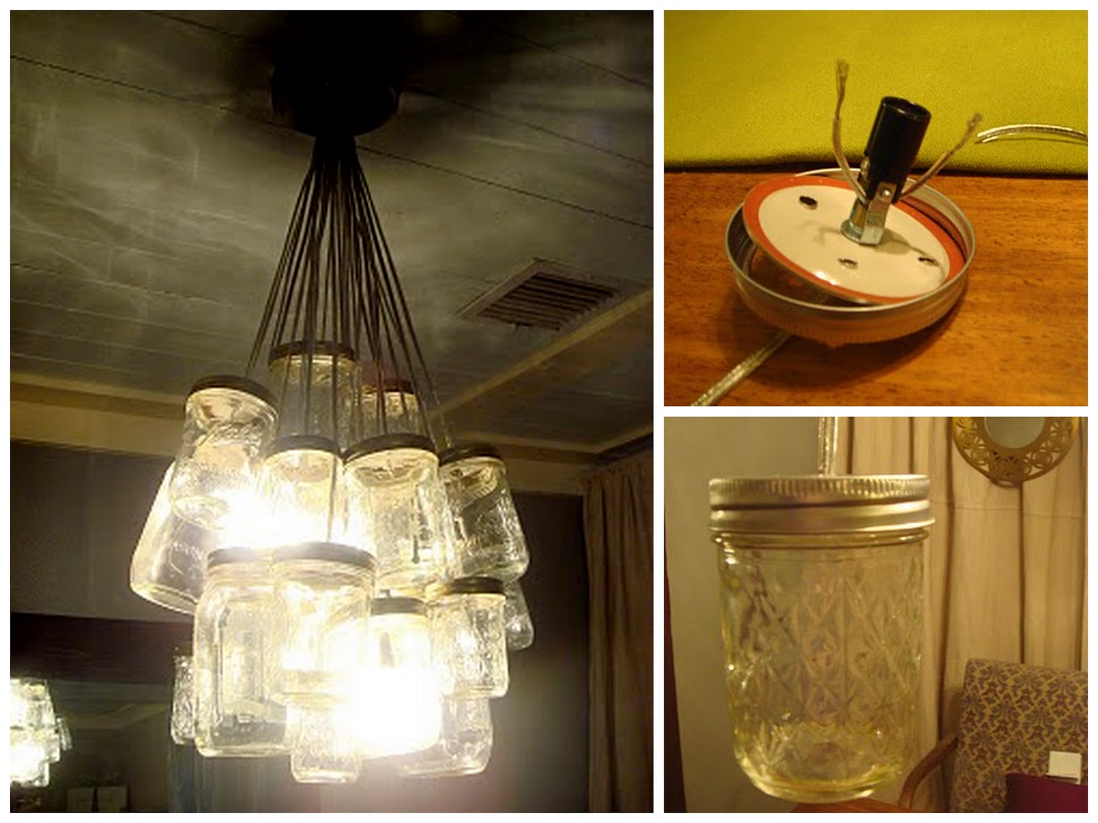 Nine Red: How To: Mason Jar Chandelier Tutorial:I love it! They did such a great job on this. I've seen quite a few mason  jar lights, but mostly singles or in groups of 3-4. This chandelier takes  it to ...,Lighting