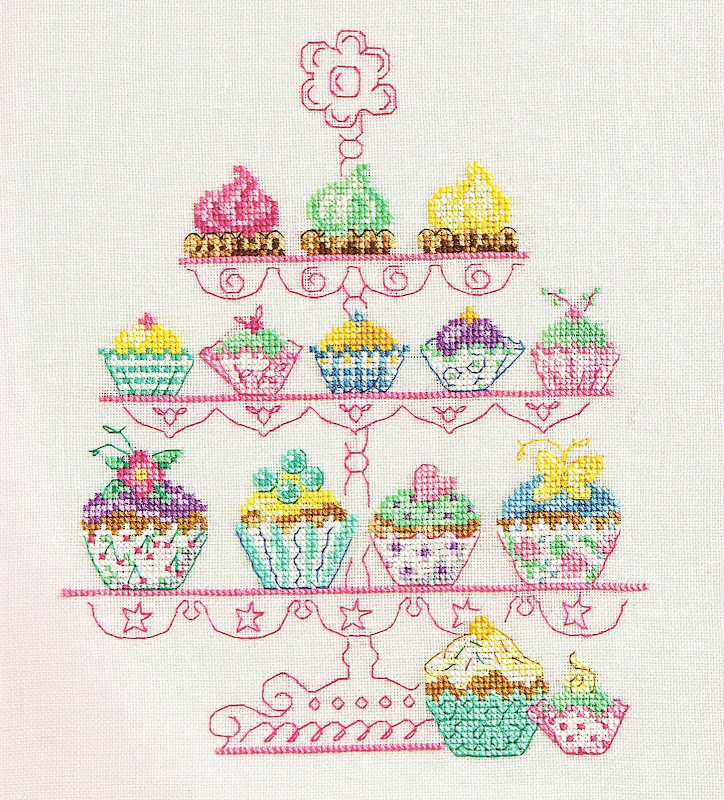 Cupcake Mania Cross Stitch title=