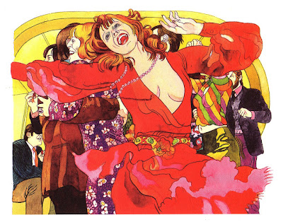 1970s illustration of wild party-girl