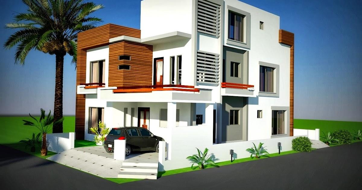 3d front elevation com 10 marla corner house plan design