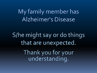 My Family Memmber Has Alzheimer's disease