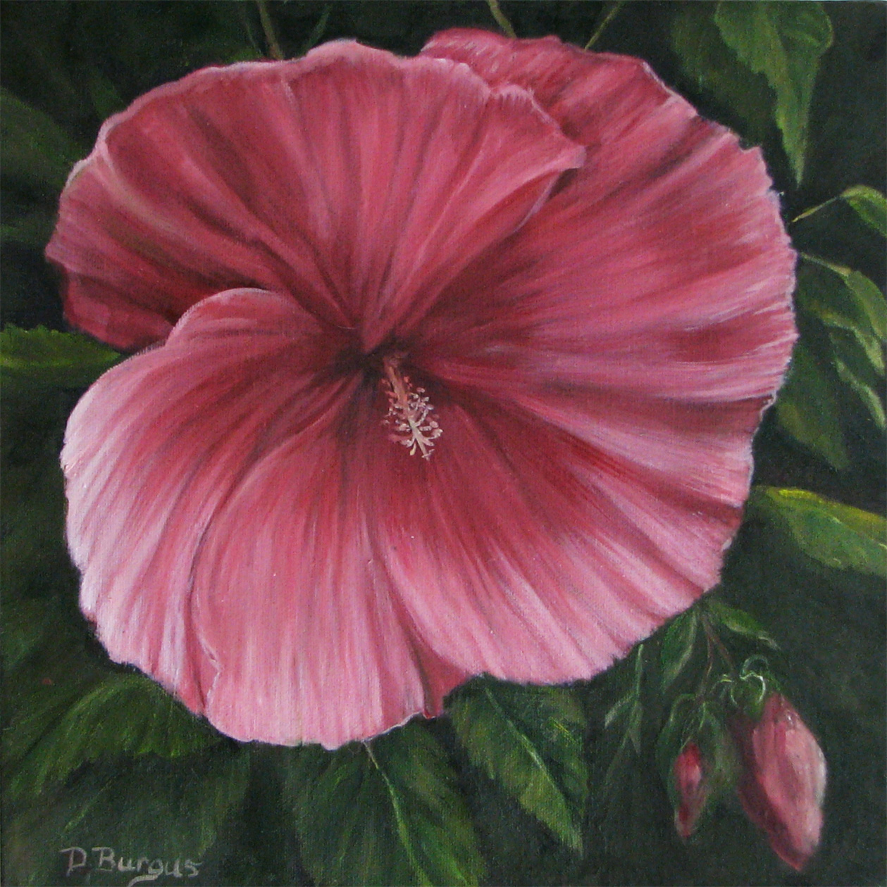 hibiscus path painted in acrylics