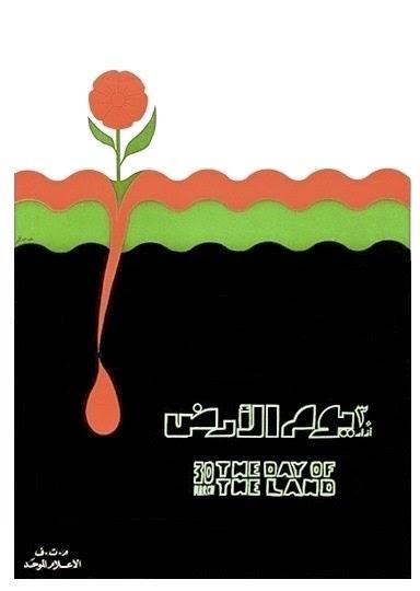 Cartaz de autoria da OLP sobre o Dia da Terra - Palestina