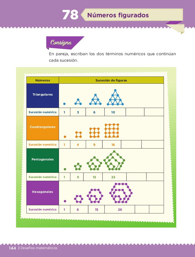 Números figurados - Desafíos matemáticos 6to Bloque 5to 2014-2015
