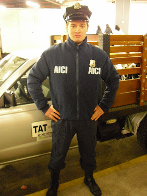 'Wrong Way' in a US Immigration uniform during a recent TV shoot. He certainly looks the part!