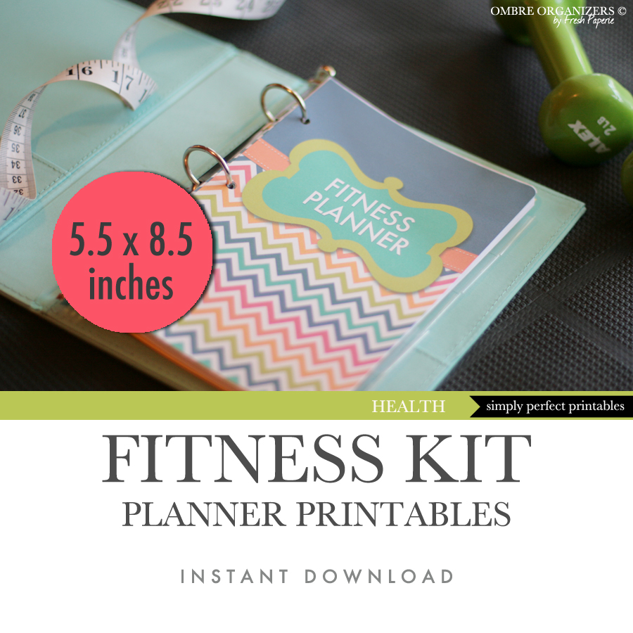 Letter Size Printable Fitness And Weight Loss Planner 55 X 85 Inches