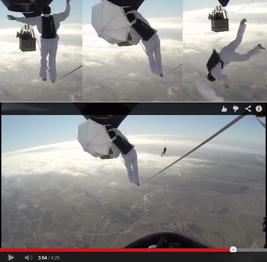 bombounaweb.net : Homem cai de balão tentando atravessar por uma corda bamba