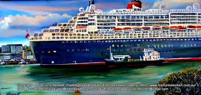 oil painting of the Queen Mary super liner with the 'Amorena' docking at Garden Island  Sydney Harbour by artist Jane Bennett