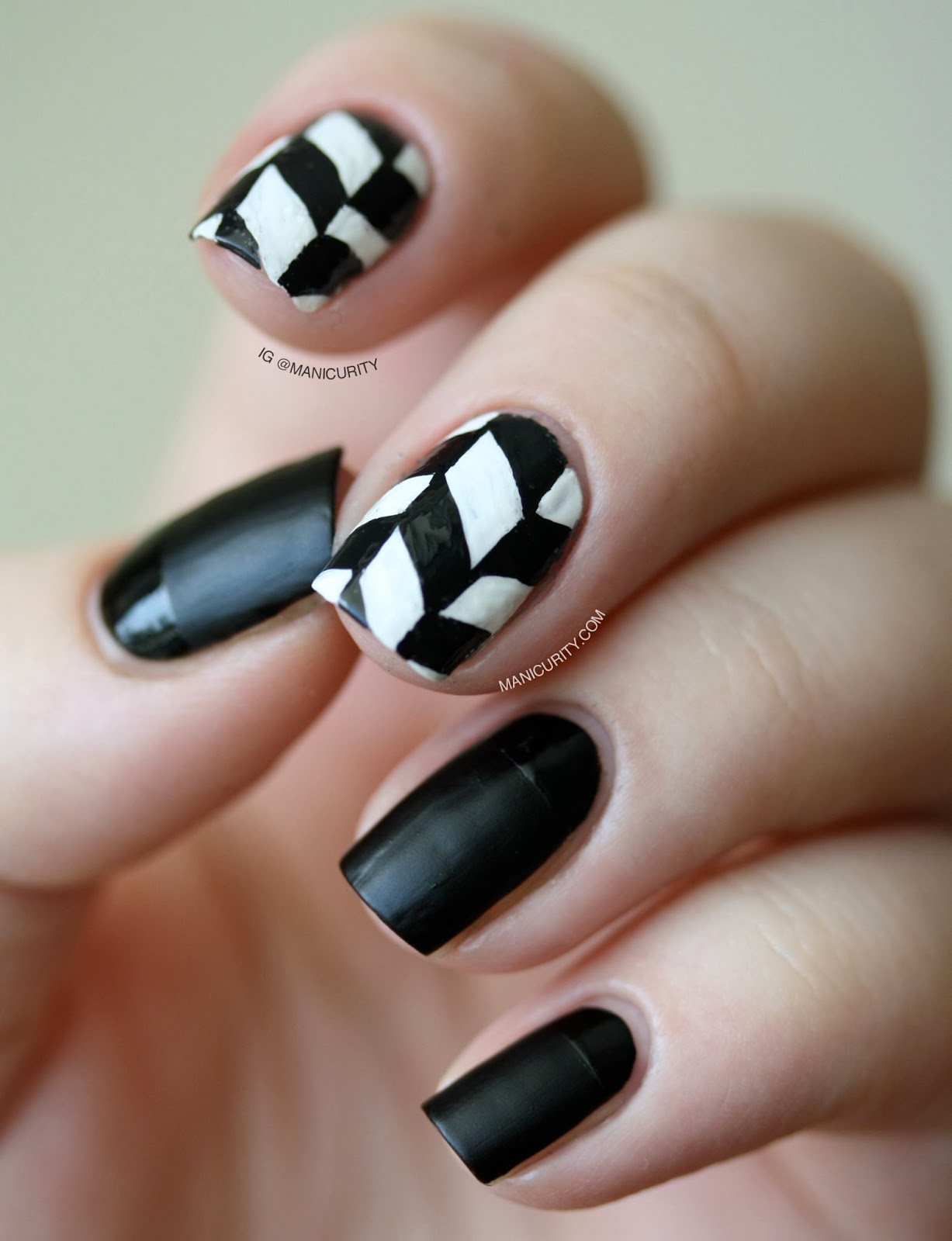 Manicurity: The Digit-al Dozen Does Black & White: Edgy Freehand ...