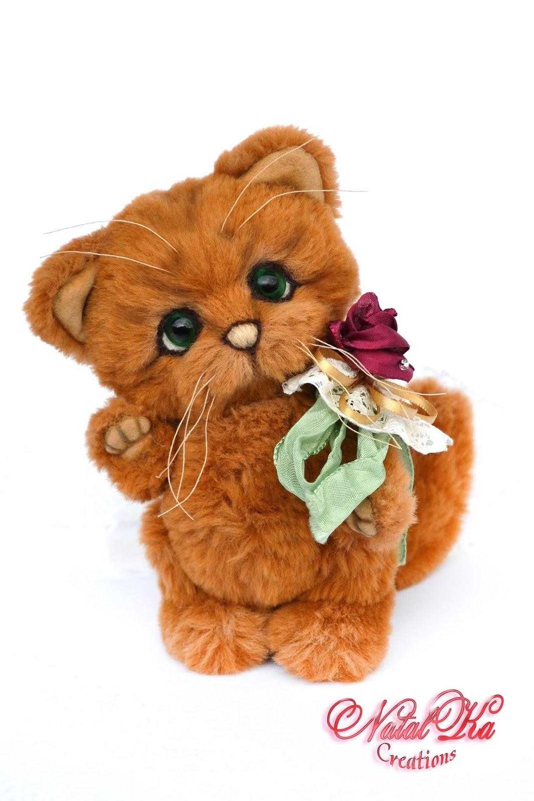 Artist teddy bear, artist bear, artist teddy cat, cat, teddy bear, ooak, artist bear jointed, handmade by NatalKa Creations. Künstlerbär, Künstlerteddy, Teddybär, Teddy, Teddy Katze, Kater, Unikat, handgemacht von NatalKa Creations