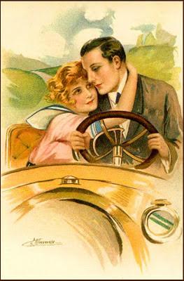 pareja retro en un coche antiguo
