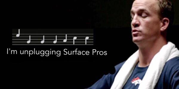 #broncos #PeytonManning #nfl.- I'm unplugging Surface Pros