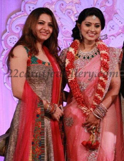 Sneha In Diamond Sets At Her Wedding Reception