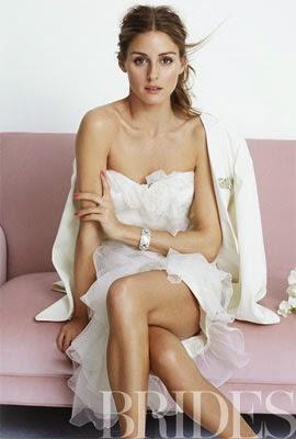vestido de casamento Marchesa e jaqueta Marcelo Giacobbe com Olivia Palermo para revista Brides Magazine
