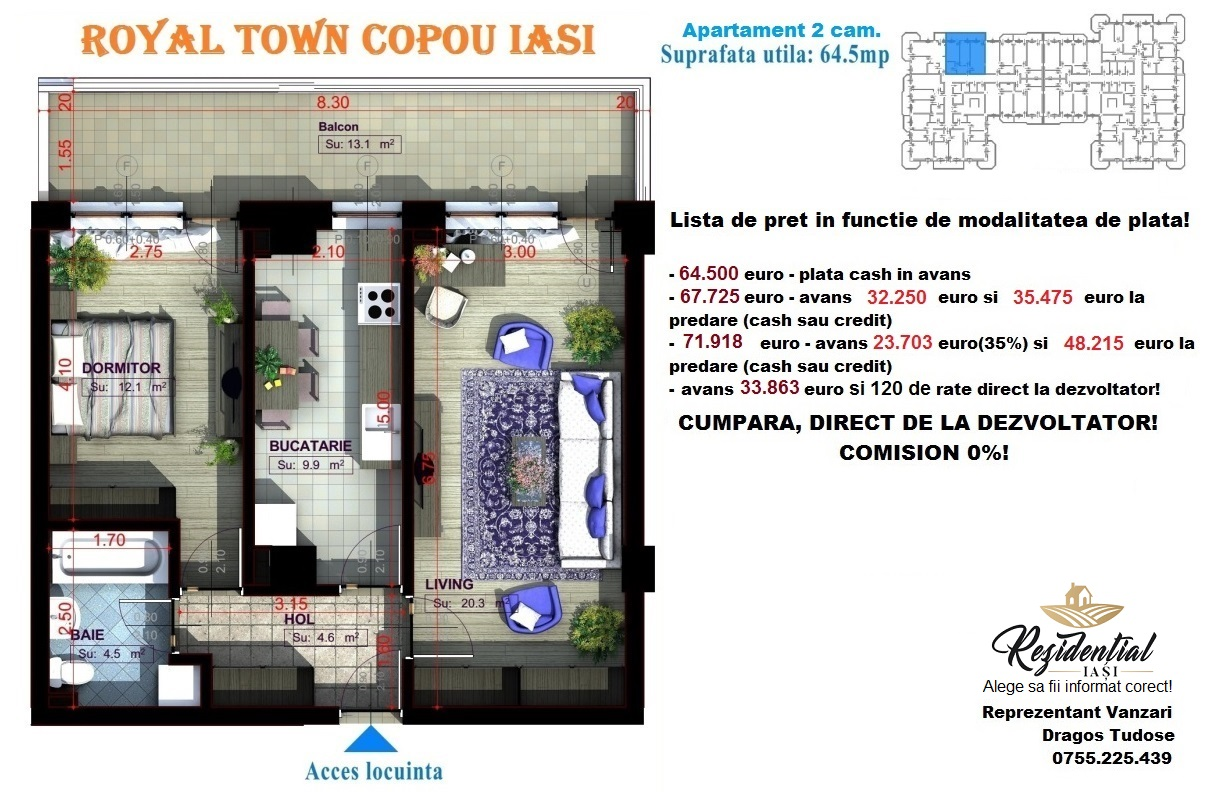 Apartament 2 camere decomandat - 64,5 mp
