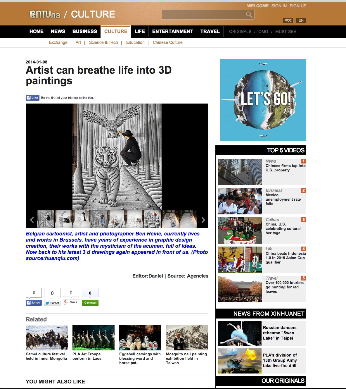 Ben Heine Art News Article - 2014
