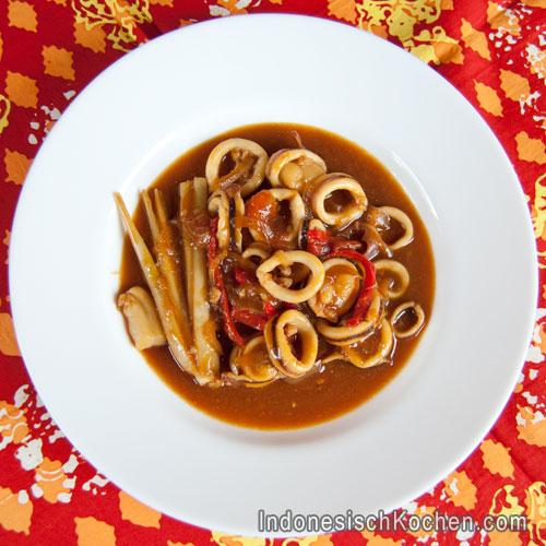 Tintenfisch süß saure soße indonesisch kochen Rezept