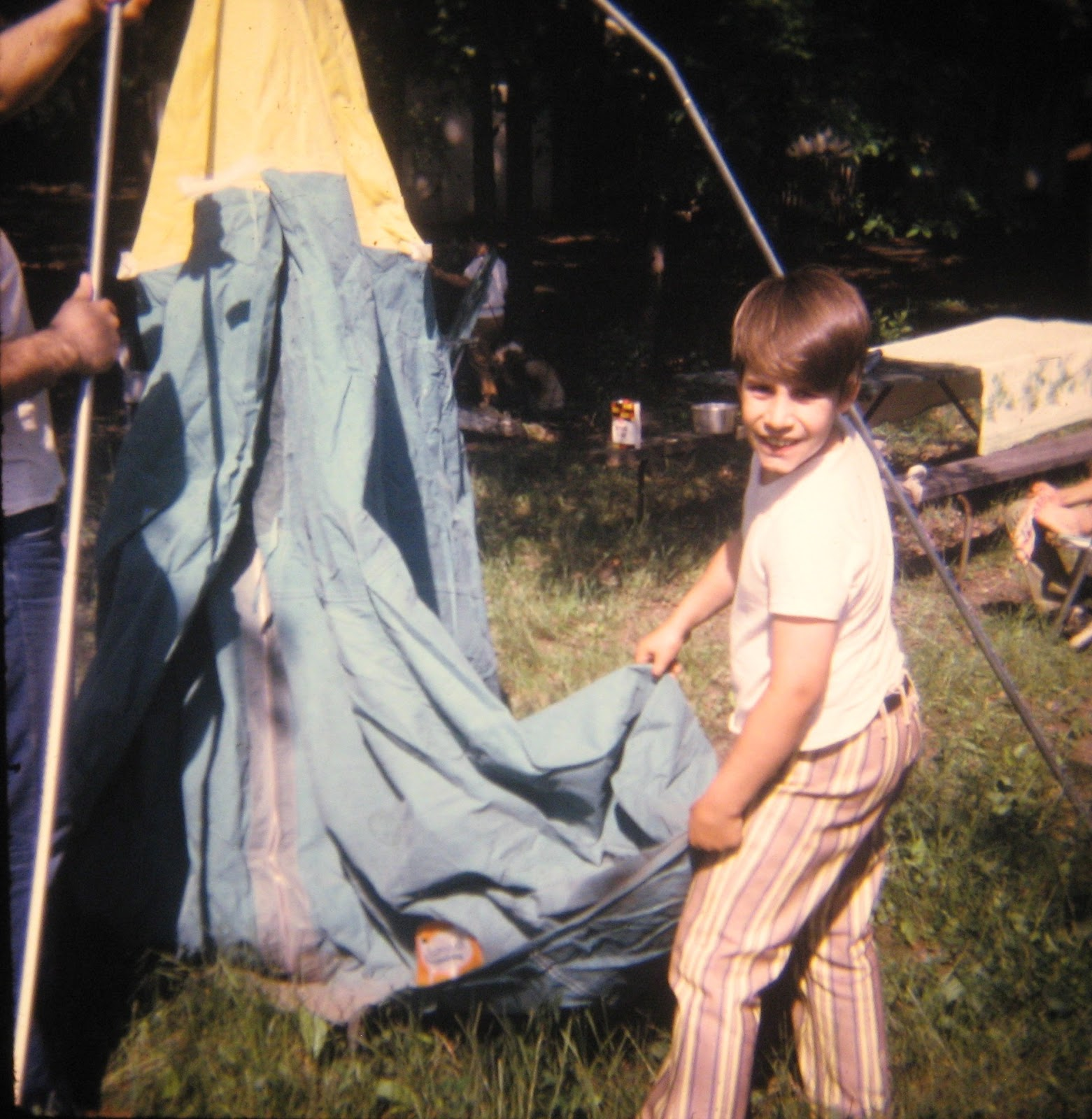 Husky Tommy Mondello in his pornstar pants July 1970 camping