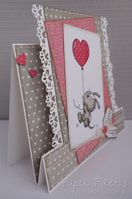 Romantic fancy fold card featuring dog with balloon (image from LOTV)