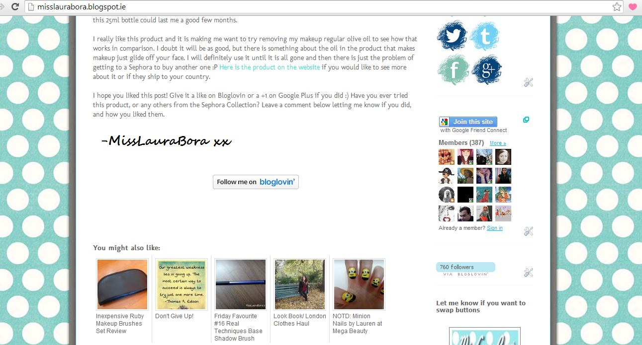 """How to add the """"Follow Me on Bloglovin' """" button to the end of each blog post"""