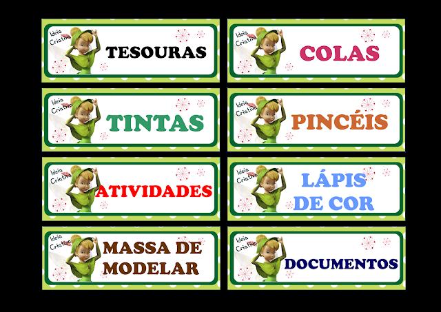 Etiquetas para organização de material Fada Sininho