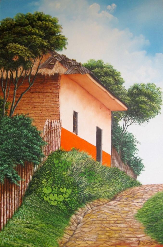 Cuadros modernos pinturas y dibujos cuadros con casas - Paisajes de casas ...