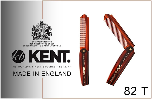 Kent 82T Handmade from England 200mm Men's Folding Pocket Hair Comb