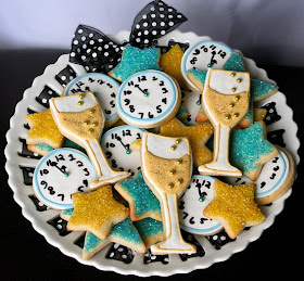 New Year's Eve Clock and Champagne Cookies
