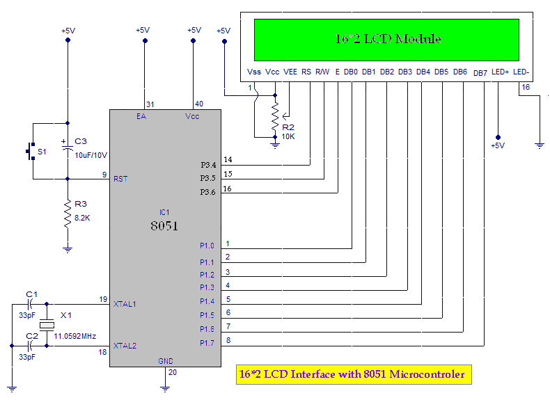 8051 Microcontroller Interfacing 162 Lcd With 8051 Microcontroller