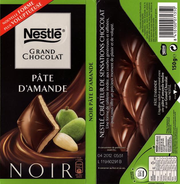 tablette de chocolat noir fourré nestlé grand chocolat pâte d'amande 2