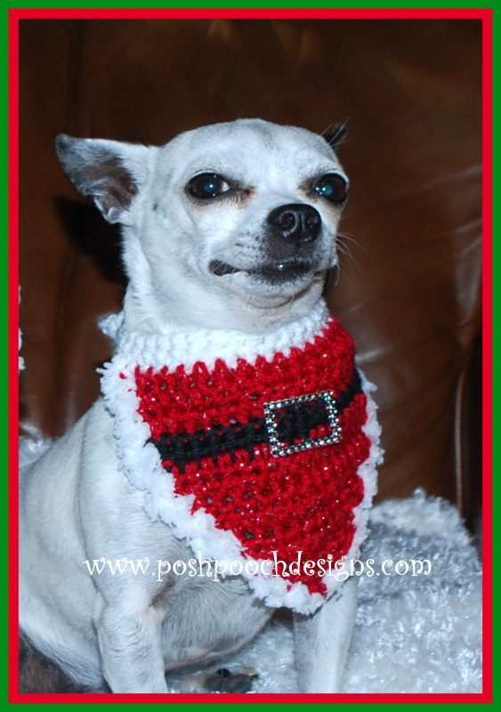 Posh Pooch Designs Dog Clothes: Christmas Santa Dog Bandanna Crochet ...