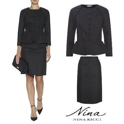 Women's Nina Ricci Black Peplum Jacket - NINA RICCI Scuba Wool Pencil Skirt