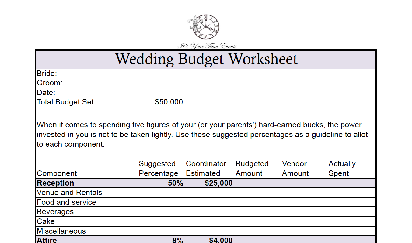 You Can Find Many Budget Calculators Online (just Google It). Here Is A  Sample One Iu0027ve Drawn Up For My Wedding Clients That Calculates As We Go.