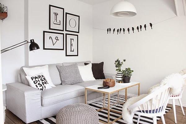 wohnzimmer couch poco:Un salón con encanto y un DIY para paredes en BLANCO Y NEGRO