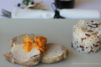 Solomillo de cerdo con melocotón. Cocinando con Lazy Blog