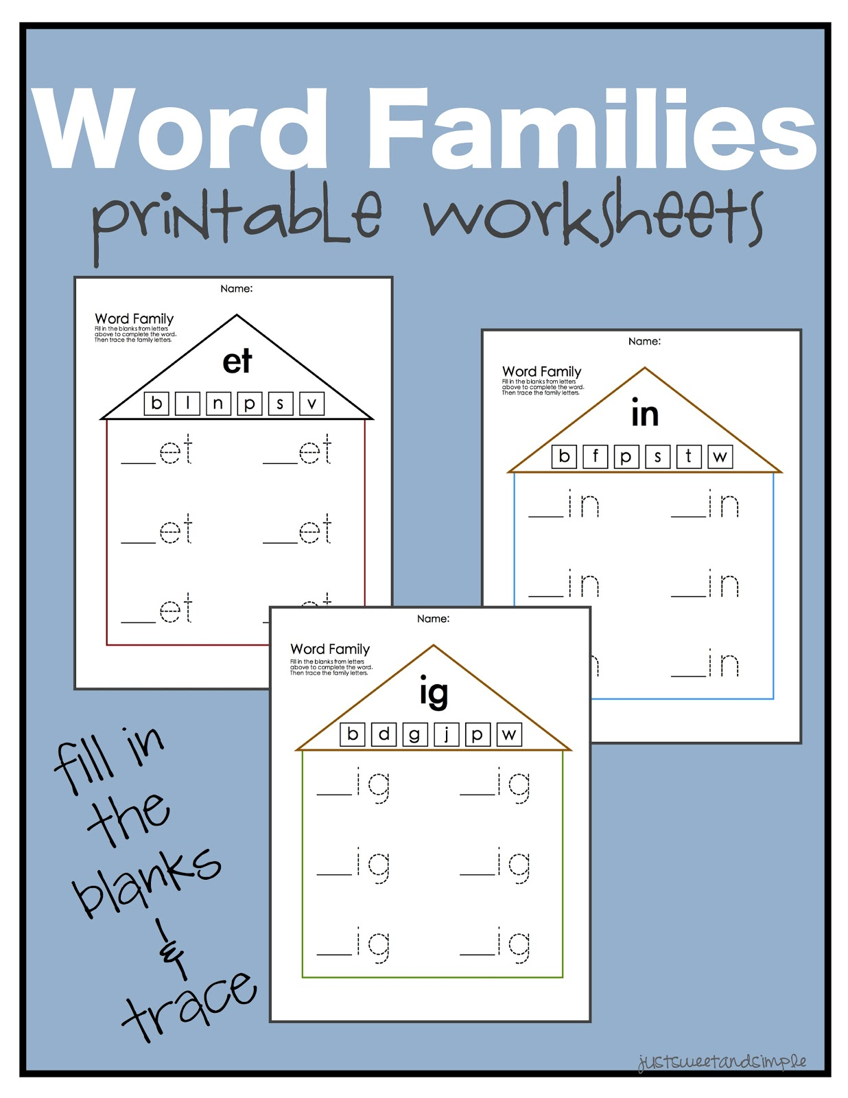 just Sweet and Simple Preschool Practice Word Family Worksheets