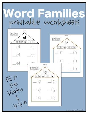 Just Sweet And Simple Preschool Practice Word Family Worksheets
