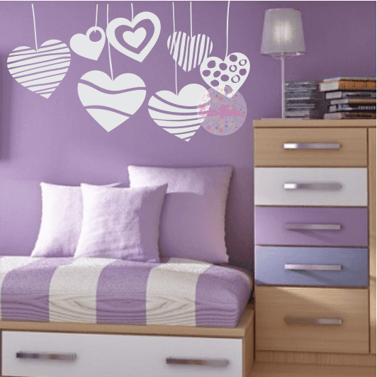 Vinilo decorativo corazones colgantes w39 cdm vinilos for Vinilos decorativos pared habitacion