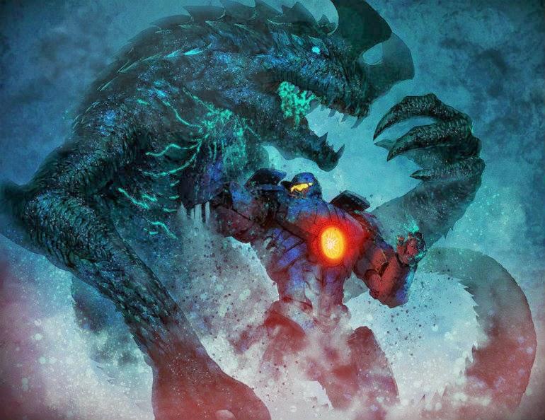 A Jager punching a Kaiju.